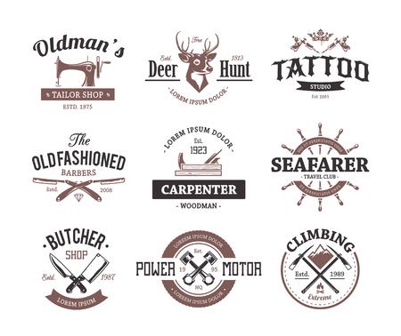 studio logo: Set of retro styled emblems. Workshop logo templates. Different craft icons. Vector arts. Illustration