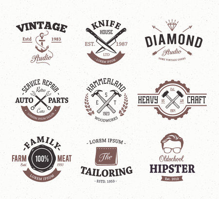 Set of retro styled emblems. Workshop logo templates. Different craft icons. Vector arts. Illustration