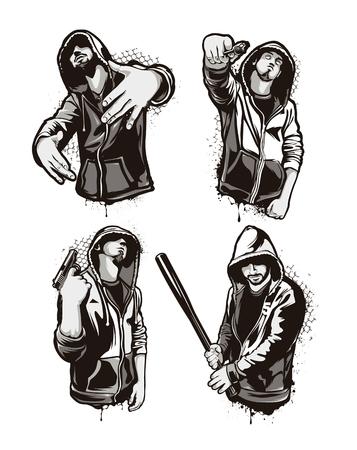 rapero: Guerreros del ghetto. Conjunto de cuatro personajes de vectores de g�ngsters. Arte vectorial de estilo grunge.