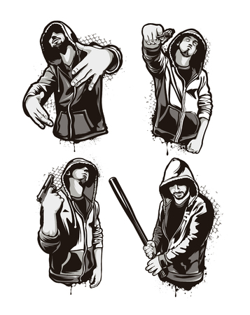 Ghetto Warriors. Set of four vector gangster characters. Grunge style vector art. Stock Illustratie