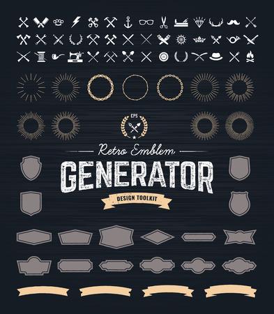 insignias: Retro Emblem Generador es un conjunto de iconos, insignias, vigas, cintas y otros elementos de diseño útiles para retro emblema. Arte del vector.