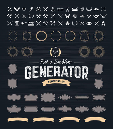 Retro Emblem Generator is set of icons, badges, beams, ribbons and other useful design elements for retro emblem. Vector art.