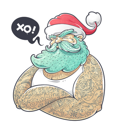 Cool art of tattooed Santa Claus. Hipster Santa vector illustration.