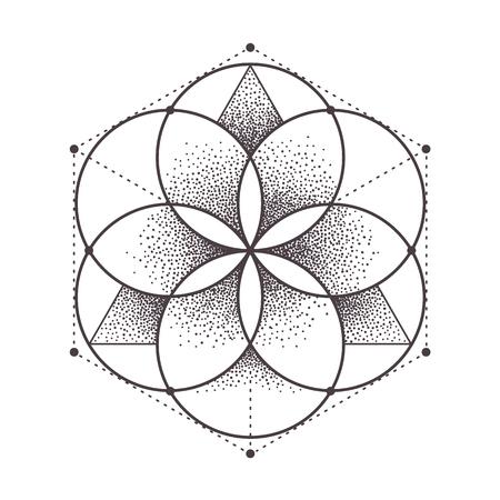 Abstract heilige geometrie. Geometrisch symmetrisch patroon op wit wordt geïsoleerd. Dotwork stijl vector illustratie. Vector Illustratie