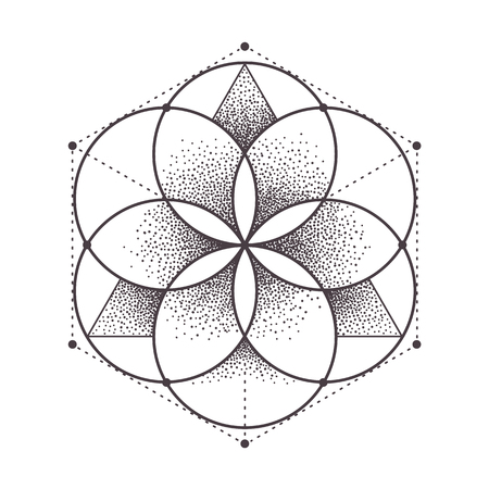 Abstract sacred geometry. Geometric symmetric pattern isolated on white. Dotwork style vector illustration.