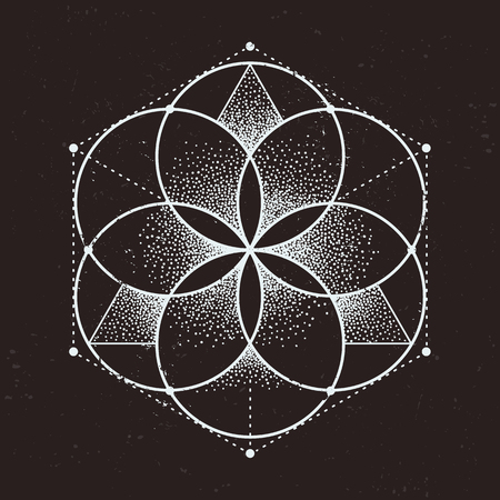 Abstract sacred geometry. Geometric symmetric pattern isolated on dark background. Dotwork style vector illustration.
