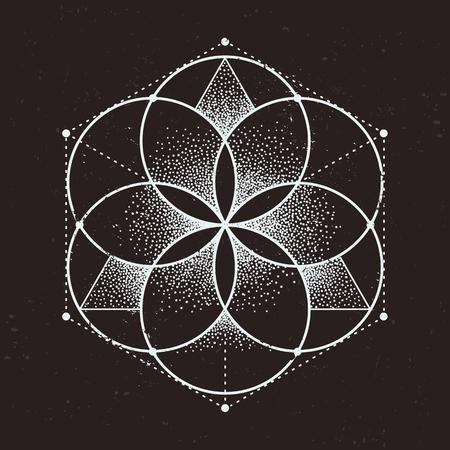 Geometria sacra astratta. Motivo geometrico simmetrico isolato su sfondo scuro. Illustrazione vettoriale di stile dotwork.