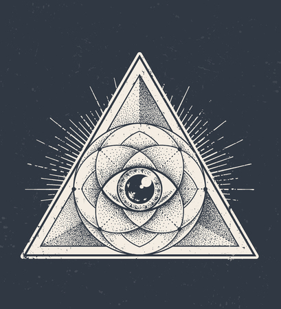 Abstract sacred geometry. Geometric triangle pattern on dark grunge background. Dotwork style vector illustration.