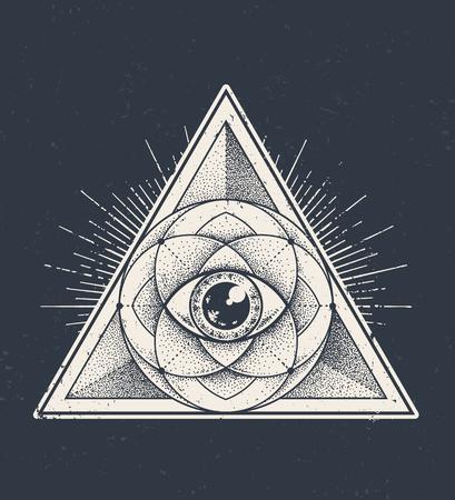 geometria: Resumen de la geometría sagrada. patrón de triángulo geométrico en fondo oscuro del grunge. estilo de ilustración vectorial Dotwork.