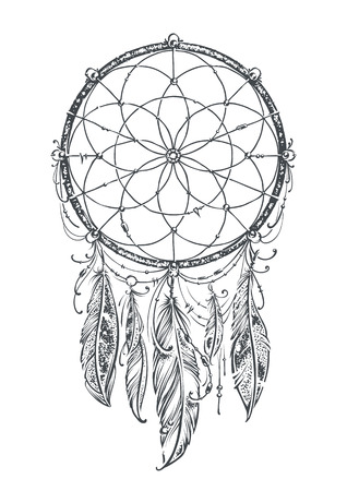 dreams: Art of traditional indian dream catcher. Monochrome version.