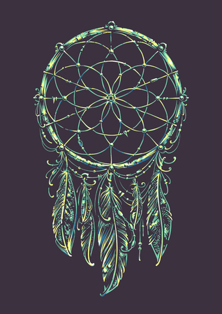 acid colors: Art of traditional indian dream catcher. Variation with acid colors.