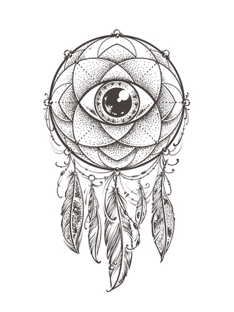 american dream: Abstract art of original dream catcher symbol. Geometric pattern with eye inside decorated with indian feathers.