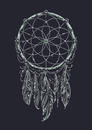 Art of traditional indian dream catcher. Monochrome variation. 向量圖像