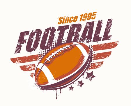 grunge football: Grunge football print. Retro styled. art. Illustration