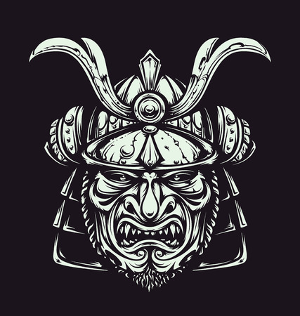Vector samurai mask. Japanese traditional martial mask. Vector illustration.