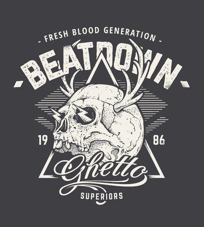 gangsta: Grunge style art of strange skull with horns. Vintage typography. Hipster print design. illustration.