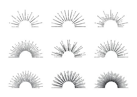 햇살의 집합입니다. 빈티지 디자인 요소입니다. 복고 스타일 라인 아트 장식 태양 광선. 손으로 그린 햇살 모양입니다.