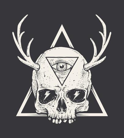 cuernos: arte extraño del cráneo con cuernos en forma de triángulo. estilo de ilustración. arte blanco y negro. Vectores