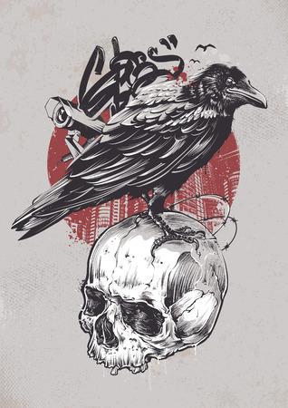 Raven on skull with urban elements on dirty background. Grunge style graffiti art. Street art. Vector illustration.