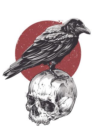 Raven on skull grunge image. Hand drawn vector art. Sketch vector illustration. Stock Illustratie