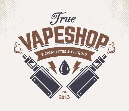 Vape shop emblem template. Vector retro style emblem with vaping attributes.