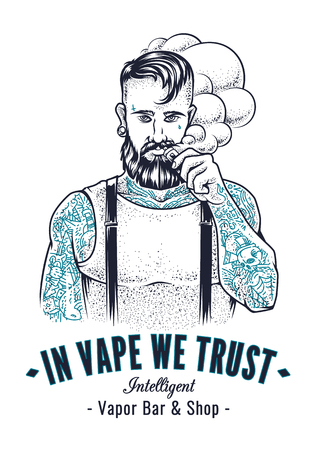 beard man: Vector art of brutal hipster with tattoos making vape cloud with e-cigarette. Monochrome vector illustration with typography In Vape We Trust. Placard design for vapor shop.