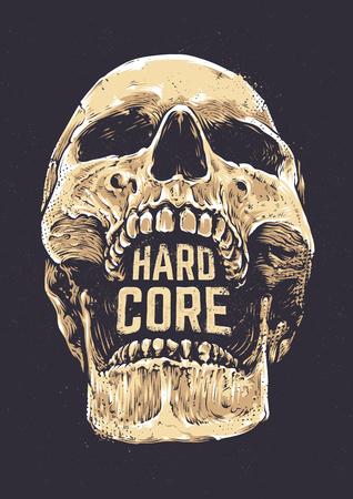 hard core: Hard Core Skull Vector Art. Detailed hand drawn illustration of skull on dark background with Hard Core typography. Tattoo style skull art. Grunge weathered illustration. Print design. Illustration
