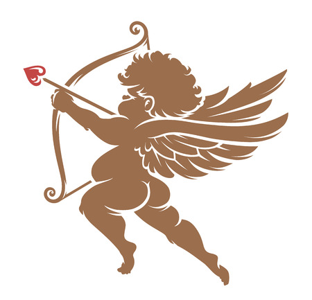 Red Vector Cupid silhouette isolated on white. Decorative design element.