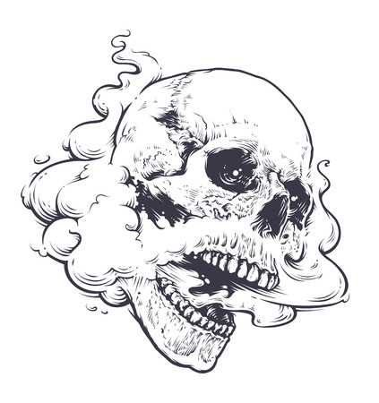 Vaping Skull Art vector illustration. Skull with steam coming out from mouth and nose. Line art. Monochrome tattoo style graphic.