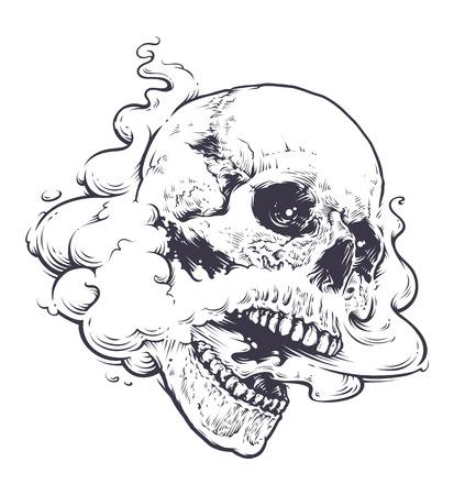 Vaping el arte del cráneo ilustración vectorial. Cráneo con el vapor que sale de la boca y la nariz. Arte lineal. Monocromático gráfico del estilo del tatuaje. Foto de archivo - 71093972