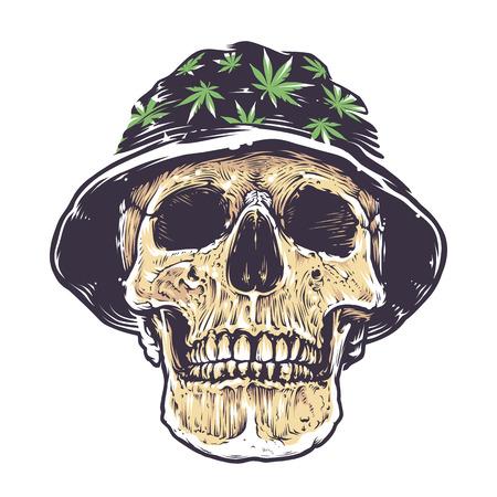 rasta hat: Rasta Skull in Hat with cannabis symbols. Isolated on white. Vector art.