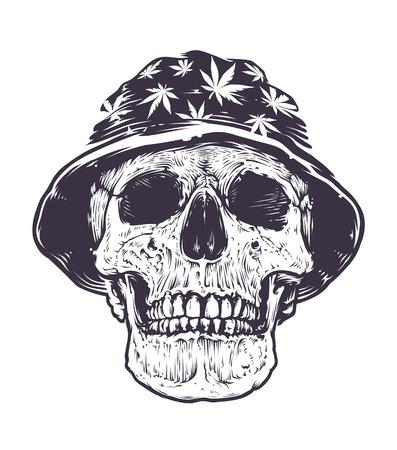 rasta hat: Rasta Skull in Hat with cannabis symbols. Black and white. Monochrome vector art. Illustration