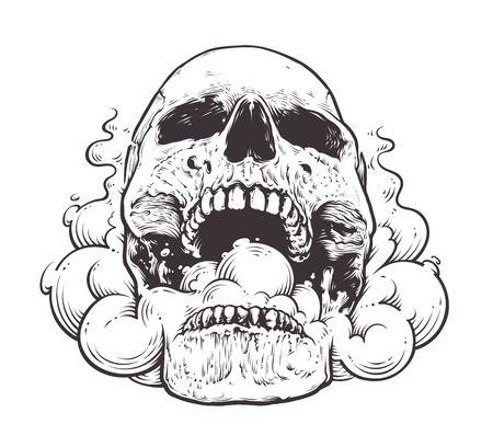 Smoking Skull Art.Tattoo style vector illustration of skull with smoke coming from his mouth. Black line art isolated on white.  イラスト・ベクター素材