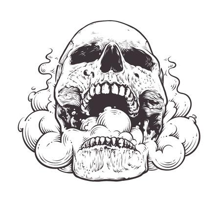 Smoking Skull Art. Ilustración de vector de estilo de tatuaje de calavera con humo saliendo de su boca. Arte de línea negra aislado en blanco.