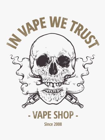 steam mouth: In Vepe We Trust. Vape shop emblem. Vaping Skull Art vector illustration. Skull with steam coming out from mouth. Illustration