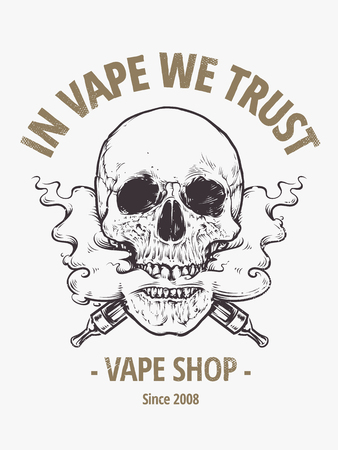 In Vepe We Trust. Vape shop emblem. Vaping Skull Art vector illustration. Skull with steam coming out from mouth. Illustration
