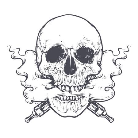 Vaping 頭骨の芸術のベクトル図です。口と鼻から出てくる蒸気の頭骨。ライン アート。モノクロ タトゥー スタイル グラフィック。