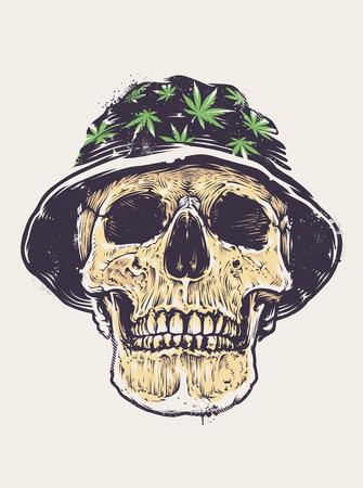 rasta hat: Rasta Skull in Hat with cannabis symbols. Stencil graffiti style skull. Grunge distressed vector art.