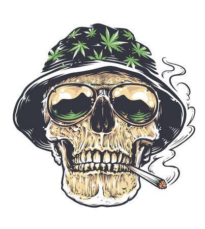 Rastaman Skull vector art. Schedel in hoed met cannabis bladeren en in suglasses houdt roken joint in zijn mond. Tattoo stijl gekleurde illustratie geïsoleerd op wit. Stock Illustratie