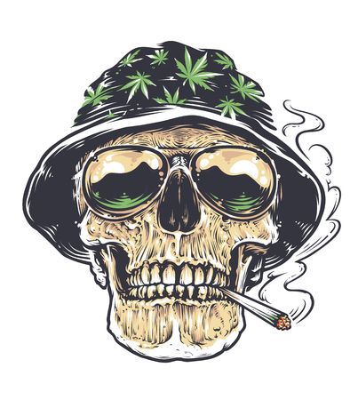 Rastaman Skull vector art. Skull in hat with cannabis leafs and in suglasses holds smoking joint in his mouth. Tattoo style colored illustration isolated on white.