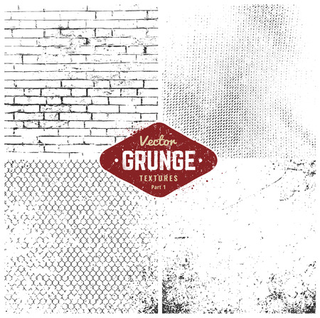 Set of four grunge weathered textures. Square dirty vector textures.