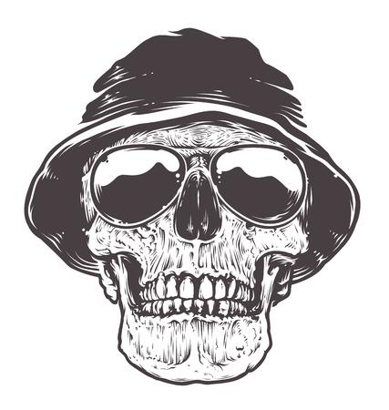 Skull in Hat and Sunglasses. Detailed monochrome vector art. Black line art isolated on white.