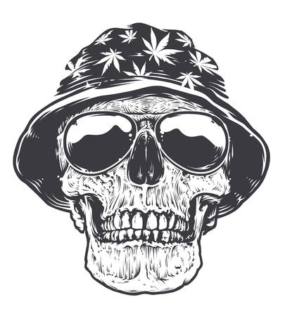 Rastaman schedel in hoed met cannabis symbolen en in zonnebril. Geïsoleerd op wit. Zwart en wit vector art.
