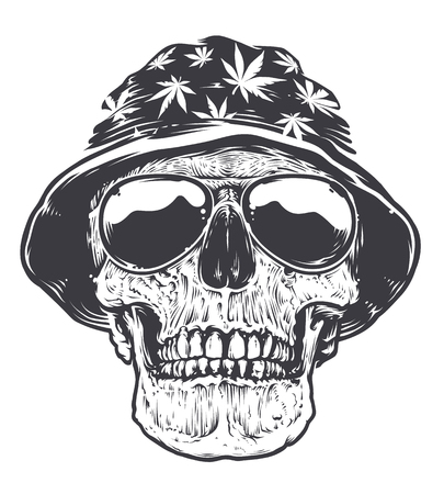 Rastaman skull in hat with cannabis symbols and in sunglasses. Isolated on white. Black and white vector art.
