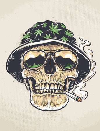 Rastaman Skull vector art. Skull in hat with cannabis leafs and in suglasses holds smoking joint in his mouth. Grunge weathered painting.