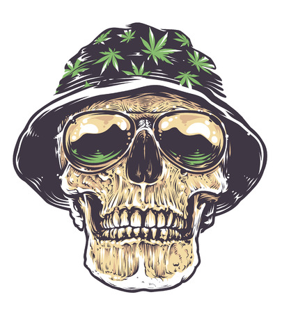 Rasta skull in hat with cannabis and sunglasses. Isolated on white. Vector art.
