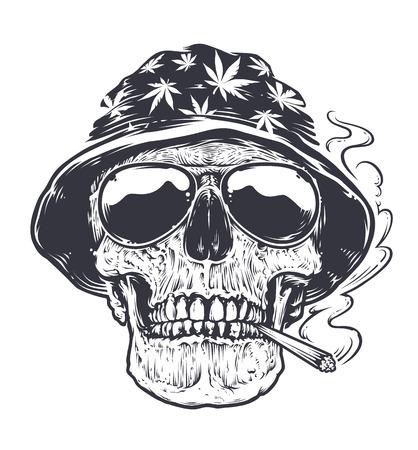 Rastaman Cráneo arte vectorial. Cráneo en sombrero con hojas de cannabis y en anteojos sostiene fumar en la boca. Ilustración en blanco y negro del estilo del tatuaje.