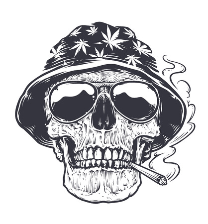 Rastaman Skull vector art. Skull in hat with cannabis leafs and in suglasses holds smoking joint in his mouth. Tattoo style black and white illustration. Vettoriali