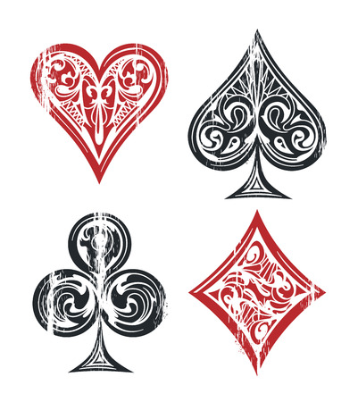 Card suit vintage symbols isolated on white. Weathered graphic of playing cards symbols with vintage patterns. Vector graphic.