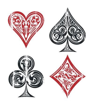 Kaart pak vintage symbolen geïsoleerd op wit. Doorstane afbeelding van speelkaartensymbolen met uitstekende patronen. Vector afbeelding.